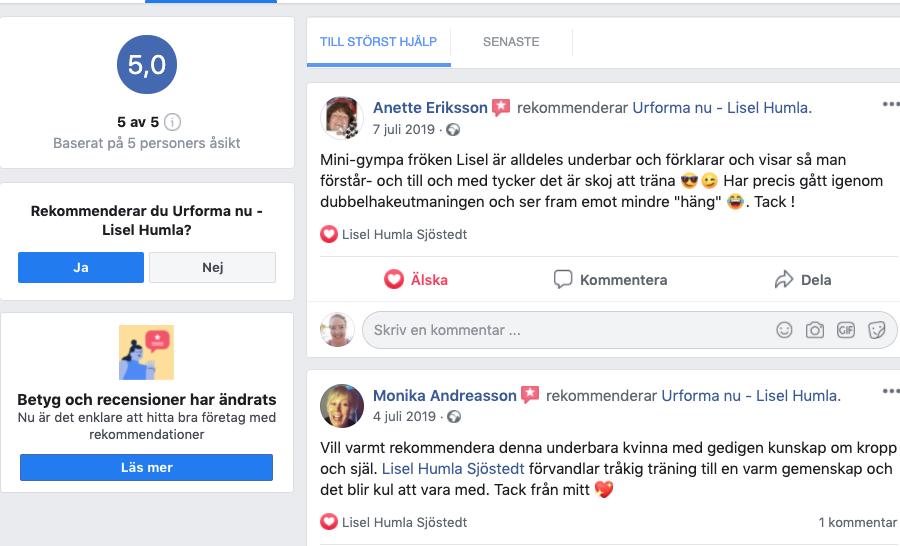 Ge recension på Facebook